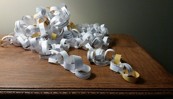 Our debt chain, made from a piece of junk mail