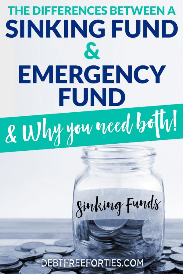 Most people don't know what a sinking fund is, or how it differs from an emergency fund. Here's where you'll find the differences in funds, and why you need to be putting money into both savings accounts. #emergency #sinkingfunds #finance