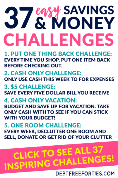 If you need to jumpstart your finances, try an easy money challenge. These savings challenges will help you save money, spend less, and pay off debt quicker! #nospend #debt #moneychallenge #savingschallenge #finance