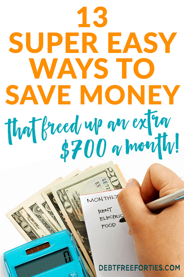 Using these tips, we were able to save ourselves an extra $700 in our budget! Here are 13 super easy ways to save money. #saving #budget #finance #savemoney