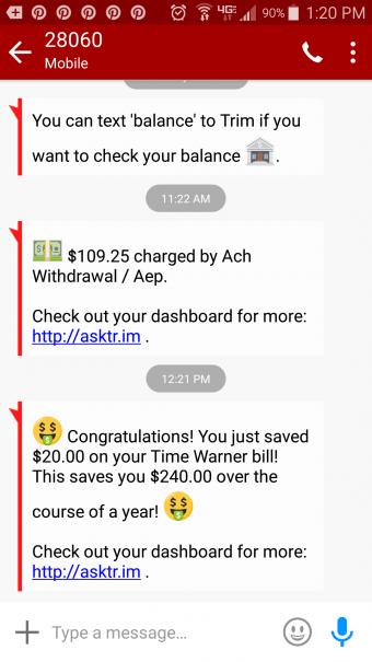 Screenshot of savings from Trim app