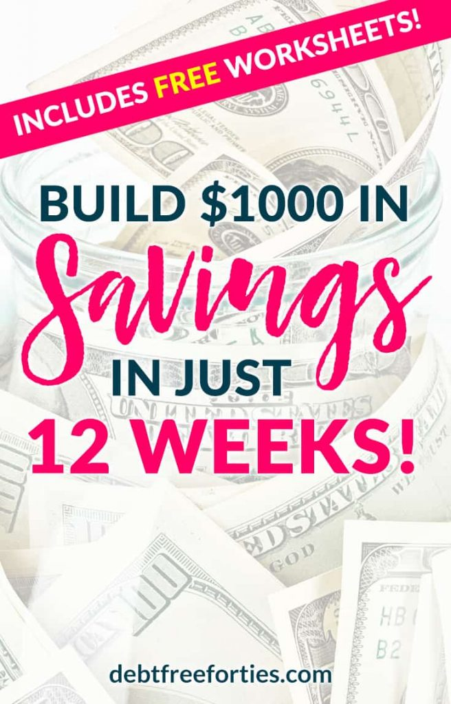 Even if you're living paycheck to paycheck, you can still save your $1000 emergency fund in just 12 weeks. Use these free printable savings worksheets to get started! #debt #money #emergencyfund