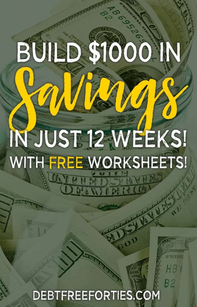Can't seem to figure out how to save money? Use these free printable savings worksheets to get you on the right track! Learn how to save $1000 in just 12 weeks. #savings #emergencyfund #savemoney
