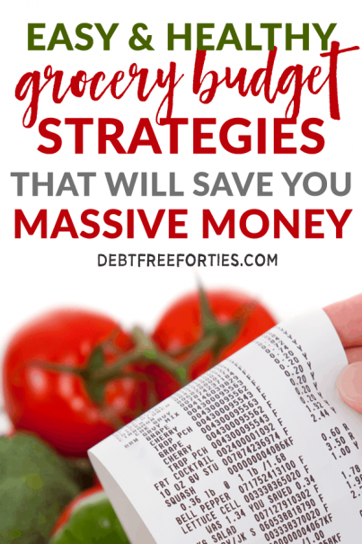 Learn the best grocery budget strategies to help you save a ton of money. Balance frugal grocery shopping with healthy eating. #frugal #budget #mealprep