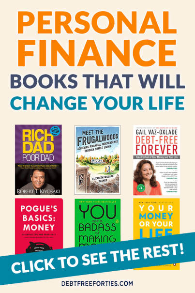 Covers of various personal finance books, including Rich Dad, Poor Dad; Meet the Frugalwoods; Debt-Free Forever; and more