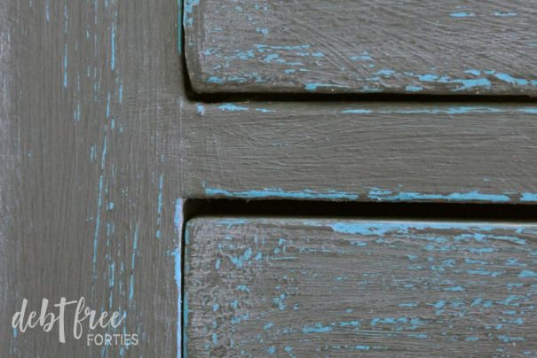Close up of completed chalk paint furniture