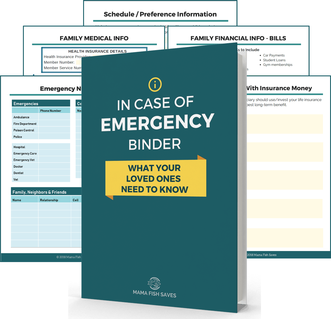 In case of emergency binder with featured pages