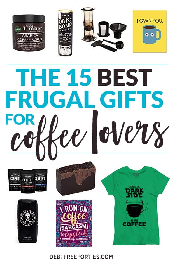 These frugal coffee lovers gifts are perfect for the holidays, birthdays, or any occasion. Starting at less than $10, you're bound to find something that fits your budget! #giftguide #coffeelover #frugal #gift