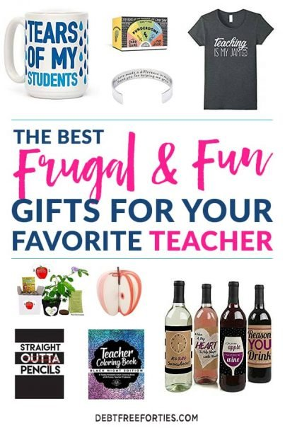 Dump the gift card for your favorite teacher this year. Instead, use one of these frugal and fun teacher gifts ideas to show your teacher appreciation! #teachers #teachergift #frugal