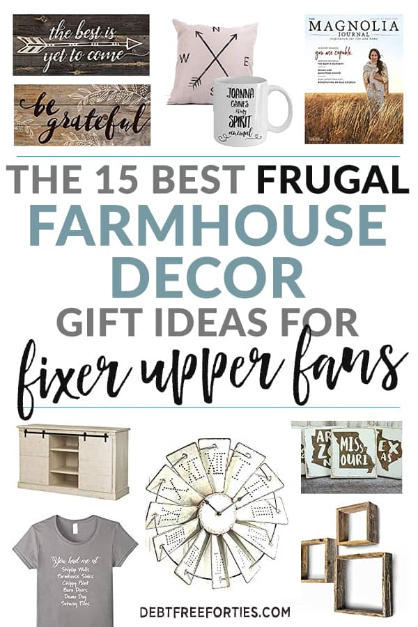 Love everything farmhouse and Joanna Gaines? Look no further for beautiful farmhouse decor for a frugal budget. #farmhouse #giftguide #frugal #gift