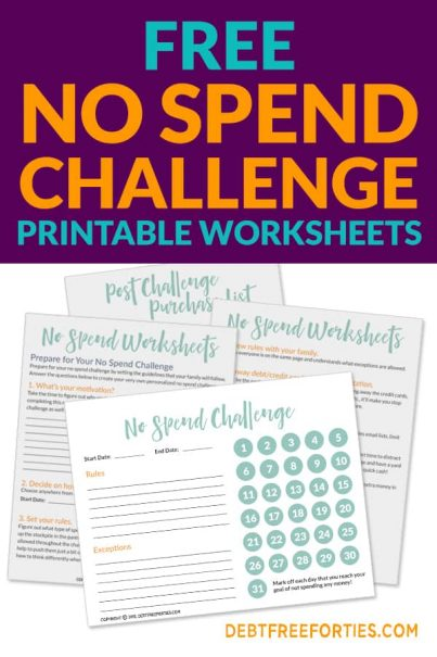 Get your free no spend challenge printable worksheets. Use them to personalize your no spend challenge to fit your goals. Get started now! #printables #nospend #nospendchallenge #finances #nospendnovember #savemoney #savingschallenge