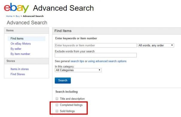 A screenshot of the advanced search properties on eBay