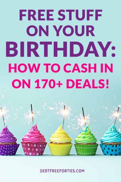 "Cupcakes and text that says ""Free stuff on your birthday: How to cash in on 170+ deals!"""