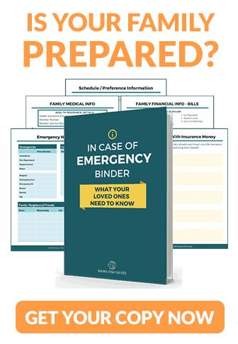 Screenshots of the emergency binder printable