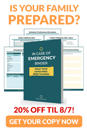 Screenshots of in case of emergency binder