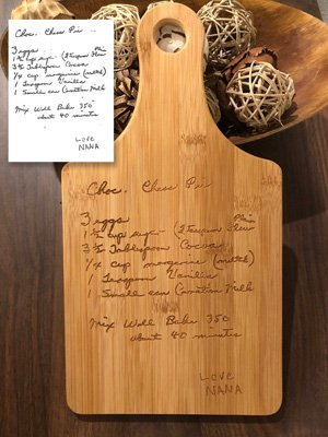 cutting board with engraved recipe
