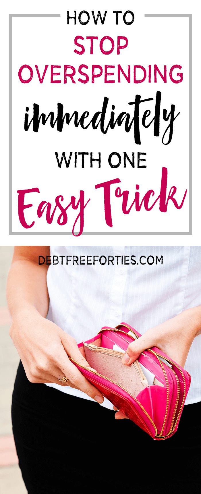 Stop overspending with one easy trick! I have one great trick to help you wrangle your overspending immediately and cut down on buying things that you don't really need. #overspending #finances #budgeting #frugal
